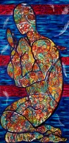 """'praying man', acrylic on canvas, 24 x 48"""", completed february 2014."""